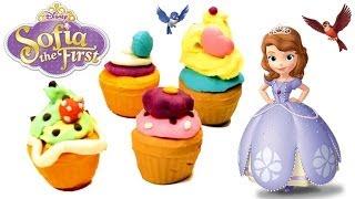 Play Doh Disney Princess Sofia The First Play Doh Tower Cupcake How to make Playdough Cupcakes
