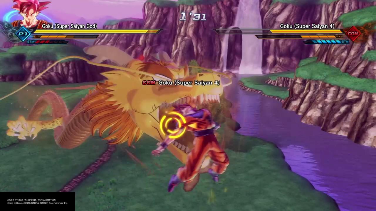dragon ball xenoverse 2 super saiyan god goku vs super saiyan 4