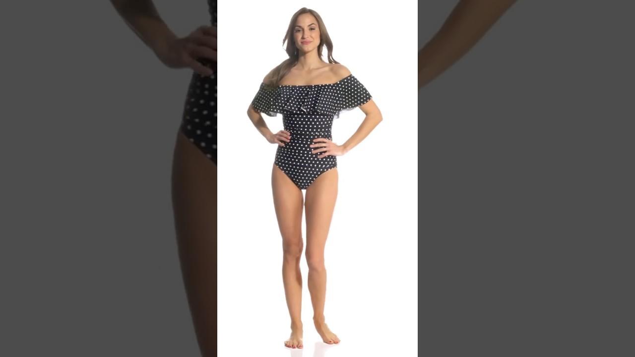 a081f5649b Lauren Ralph Lauren Dot Off The Shoulder One Piece Swimsuit ...