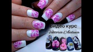 видео Дизайн ногтей Розы по мокрому гель-лаку
