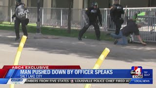 EXCLUSIVE: Man with cane speaks out after being pushed down by officer in riot gear