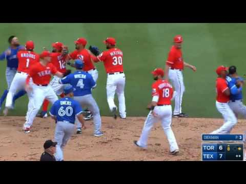 Texas Rangers Rougned Odor punches Jose Bautista in the face after Blue Jays outfielder retaliates