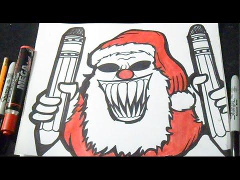 Babbo Natale Assassino.Come Disegnare Babbo Natale Clown Graffiti Youtube