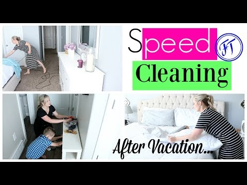 Speed Cleaning My House After Vacation| Speed Clean with Me| SAHM