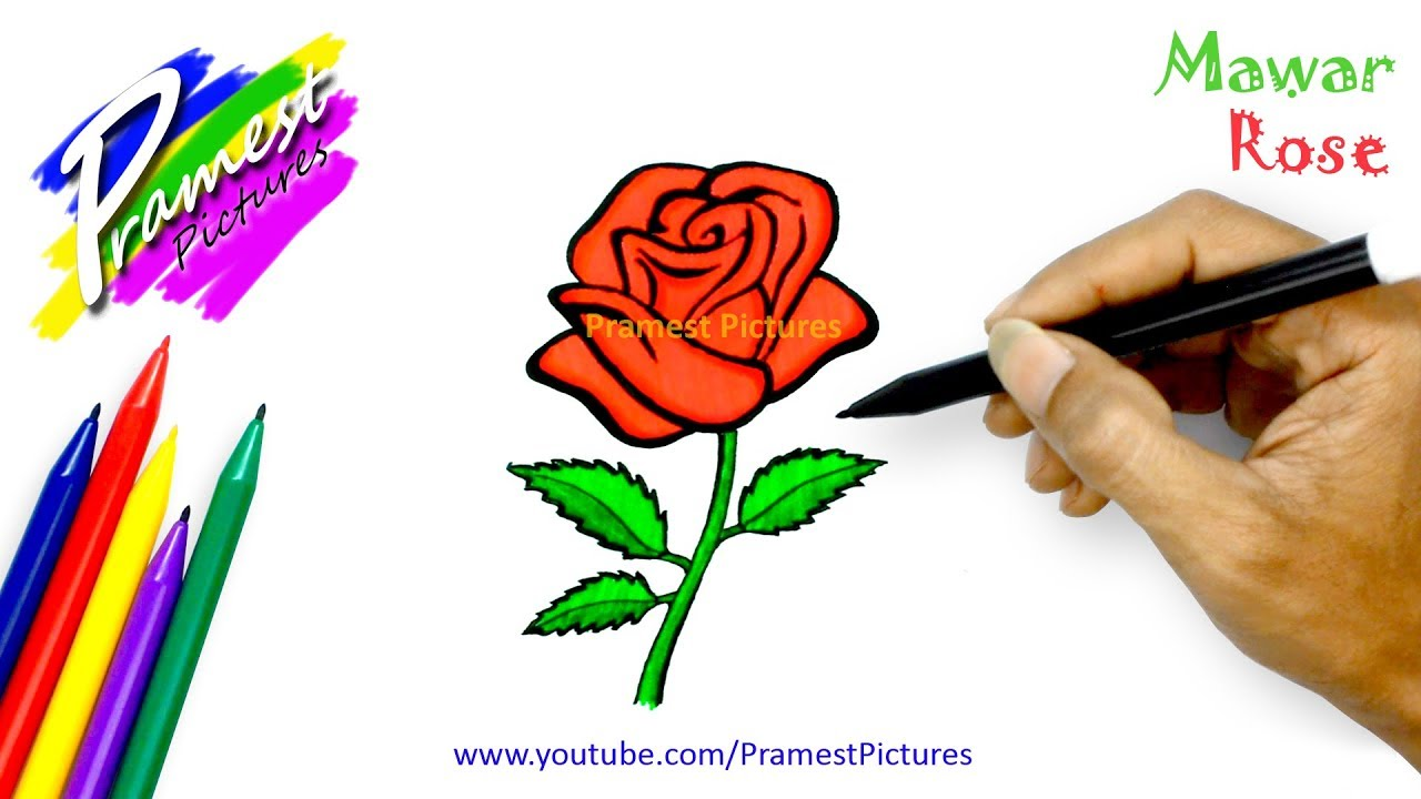 how to draw a rose flower coloring pages for kids youtube