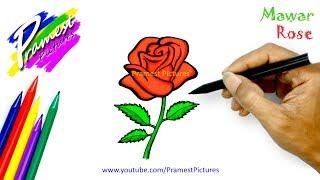 Mawar 🎨 Cara Menggambar dan Mewarnai Gambar Bunga (How to Draw a Rose)