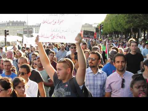 Protest march in Stockholm against Israel's attack to the Gaza Strip