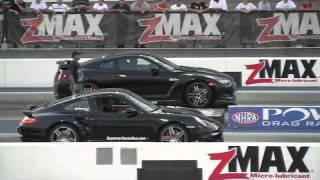 drag racing Nissan GTR vs. Porsche 911 Turbo