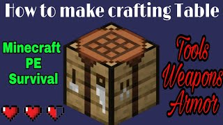 How To Make Crafting Table In Minecraft Pocket Edition Hindi Minecraft Pe Crafting Table Banaye Youtube
