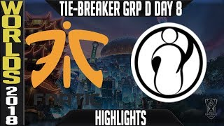 FNC vs IG Tie-Breaker Highlights | Worlds 2018 Group D Day 8 | Fnatic(EULCS) vs Invictus Gaming(LPL)