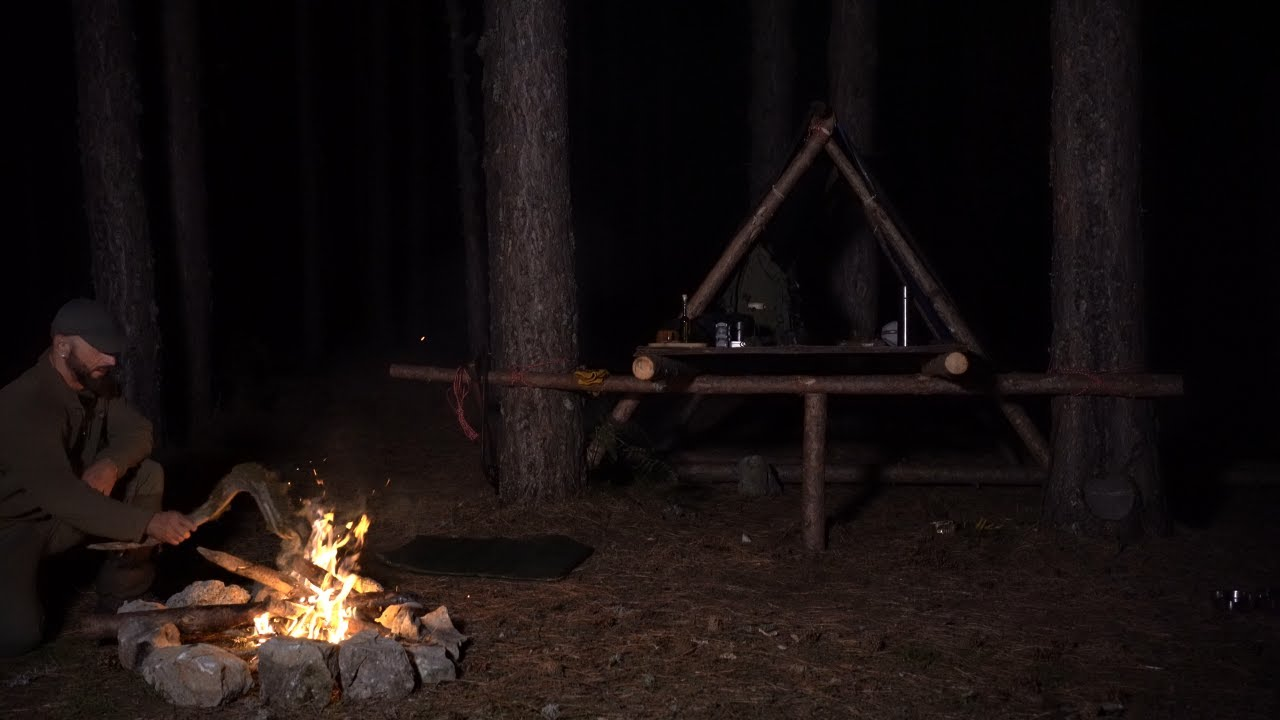 Download Solo Overnight Building a Bushcraft Raised shelter in the forest. Chicken with various vegetables