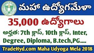 35,000 Job Vacancies |  Maha Udyoga Mela 26th October 2018 in Hyderabad Naampalli Exhibition Ground