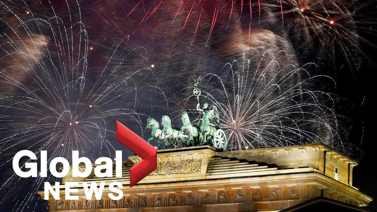 Revelers welcome the New Year at Berlin's Brandenburg Gate