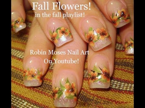 Easy Fall Nail Art DIY Autumn Flower Nails Design Tutorial - YouTube