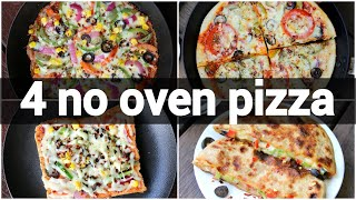 4 ways pizza recipes without oven | indian pizza recipes | pizza recipes without baking