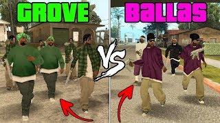 GTA San Andreas - Grove Street vs Ballas Gang & Killing CJ, Sweet and Ryder! (Gang War Mission)