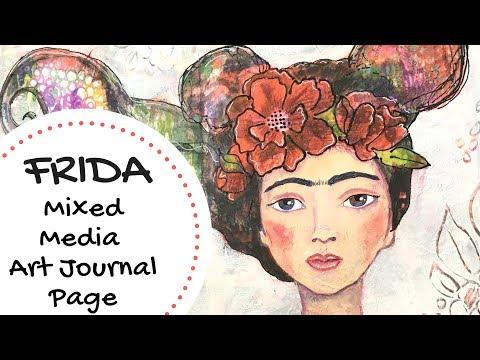 Frida Mixed Media Art Journal Process Page using Jane Davenport Supplies