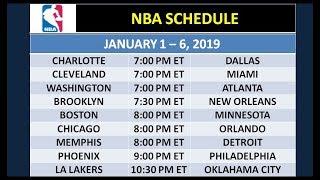 NBA Schedule on January 1-6, 2019