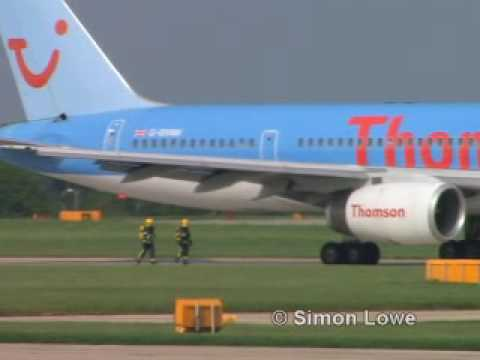 ThomsonFly 757 bird strike & flames captured on video