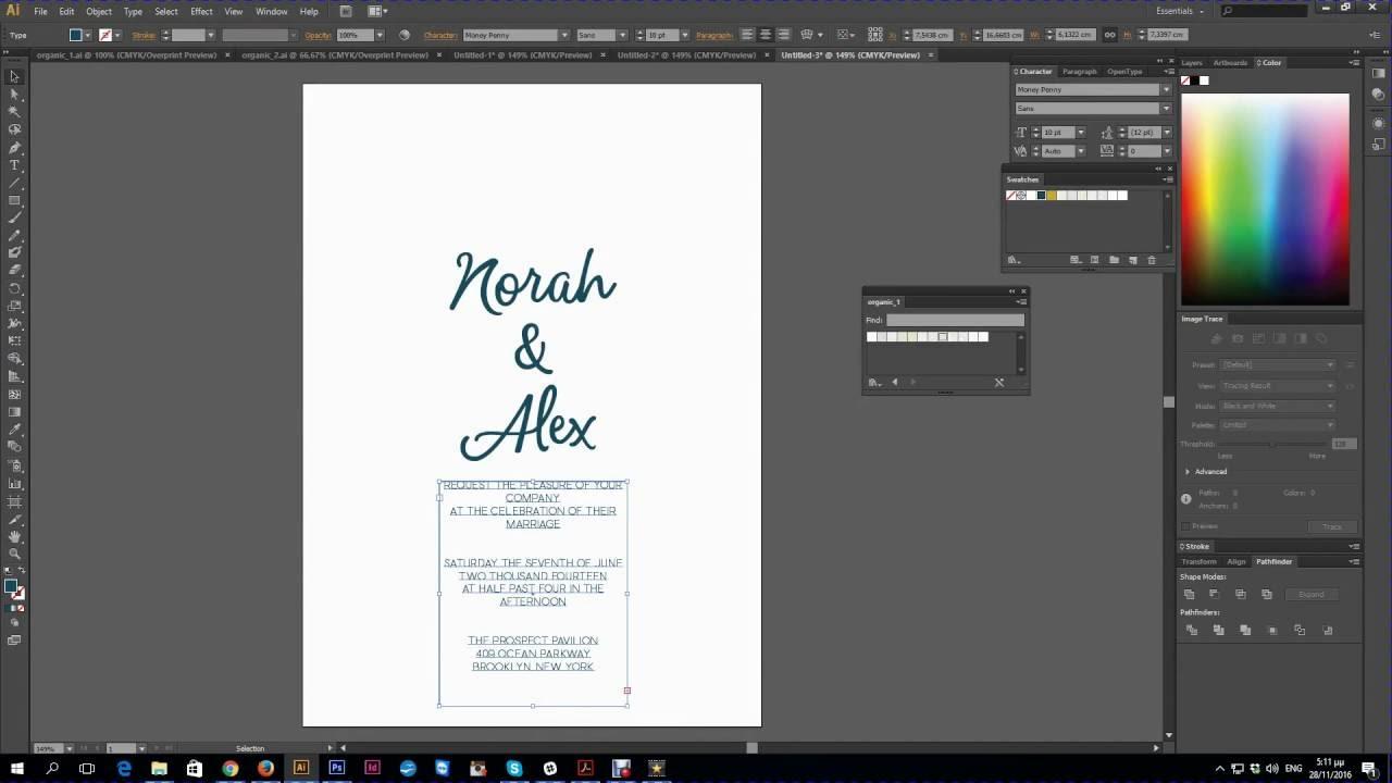 Adobe Illustrator - Import Swatches & Create Wedding Invitation ...