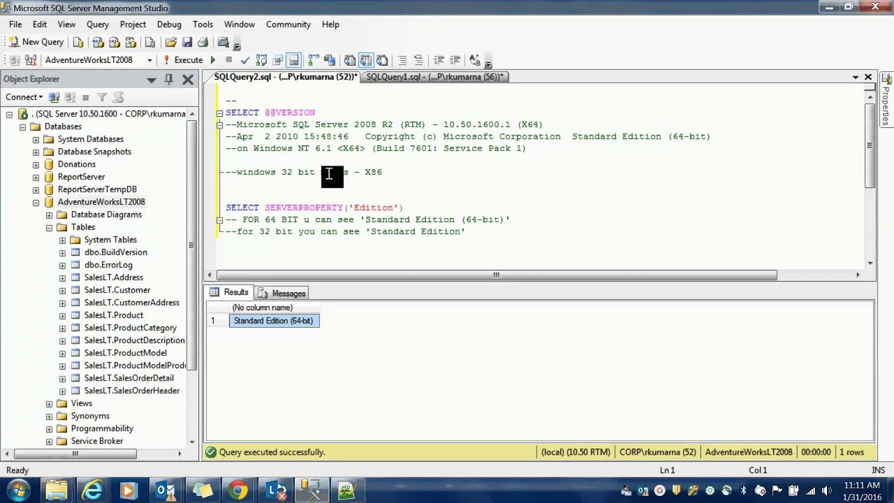 SQL Server – How to check if you are running 32 bit or 64 bit version - YouTube
