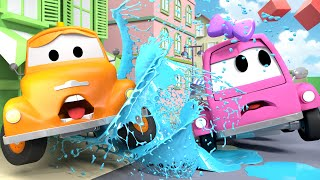 Tom The Tow Truck and Suzy the PINK CAR in Car City - Cars Trucks construction cartoon for children