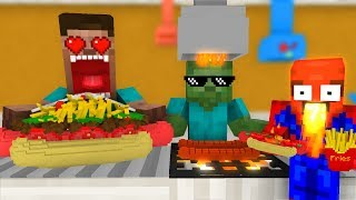 Monster School: WORK AT SUPER HOT DOGS PLACE! - Minecraft Animation