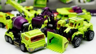 Transformers Stop motion Green Car Color Excavator, truck, cranes boat #трансформеры Cars Robot Toys