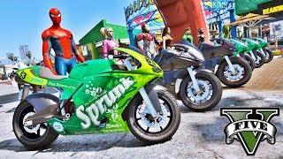 MOTOS com Homem Aranha e Heróis Desafio de Motorbike na Rampa GTA V Mods - IR GAMES