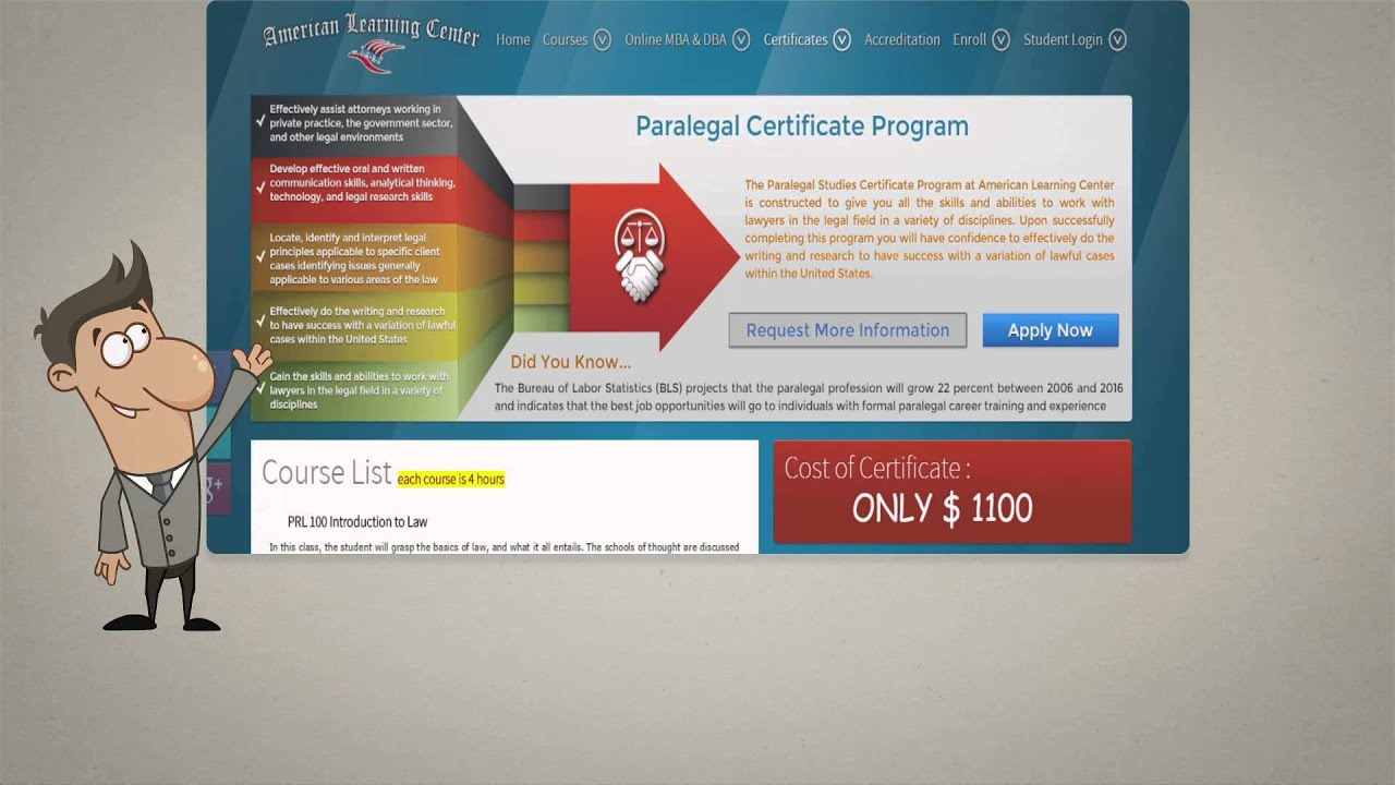 Online Paralegal Certificate At American Learning Center Youtube