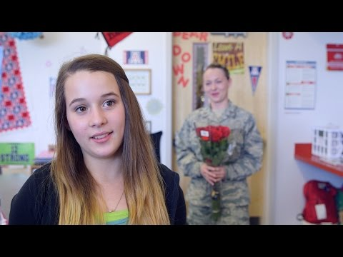 Returning soldier surprises daughter during interview