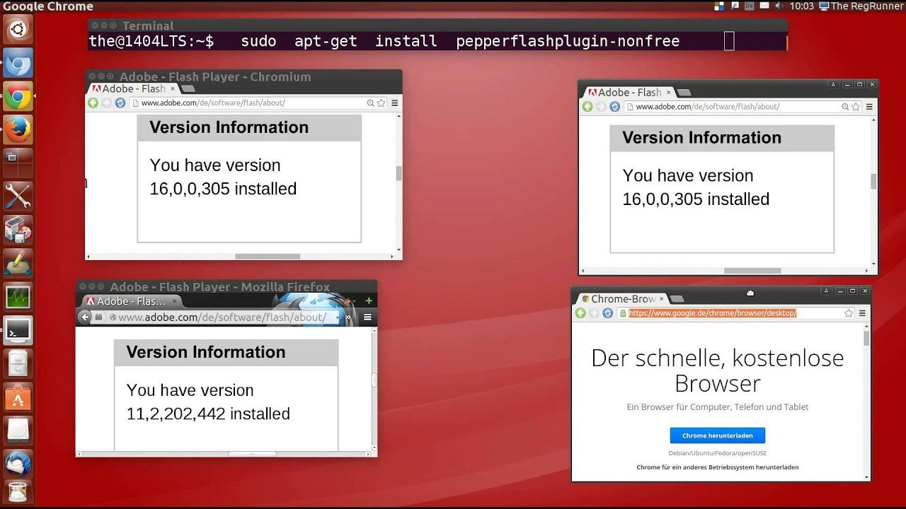 installer flash player chromium linux