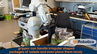 Adaptive Robotic Gripper. Packaging of salads in box