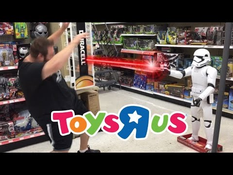 STORMTROOPER BLASTS FAT MAN AT TOYSRUS WITH LASERS