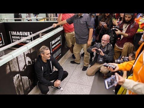 Joaquin Phoenix from 'Joker' makes stop at Toronto's subway to advocate animal rights advertising