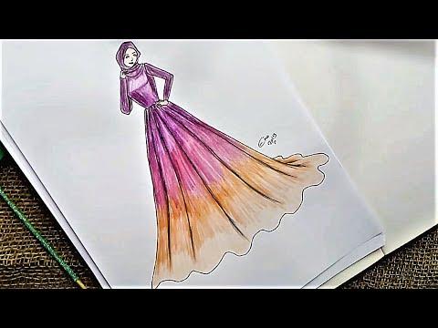 رسم فستان سهره سهل خطوه بخطوه للمبتدئين تعلم رسم وابتكار الملابس و