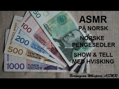 ASMR in Norwegian/på norsk ~ Norwegian Notes/Norske sedler Show & Tell Whispering Hviskende