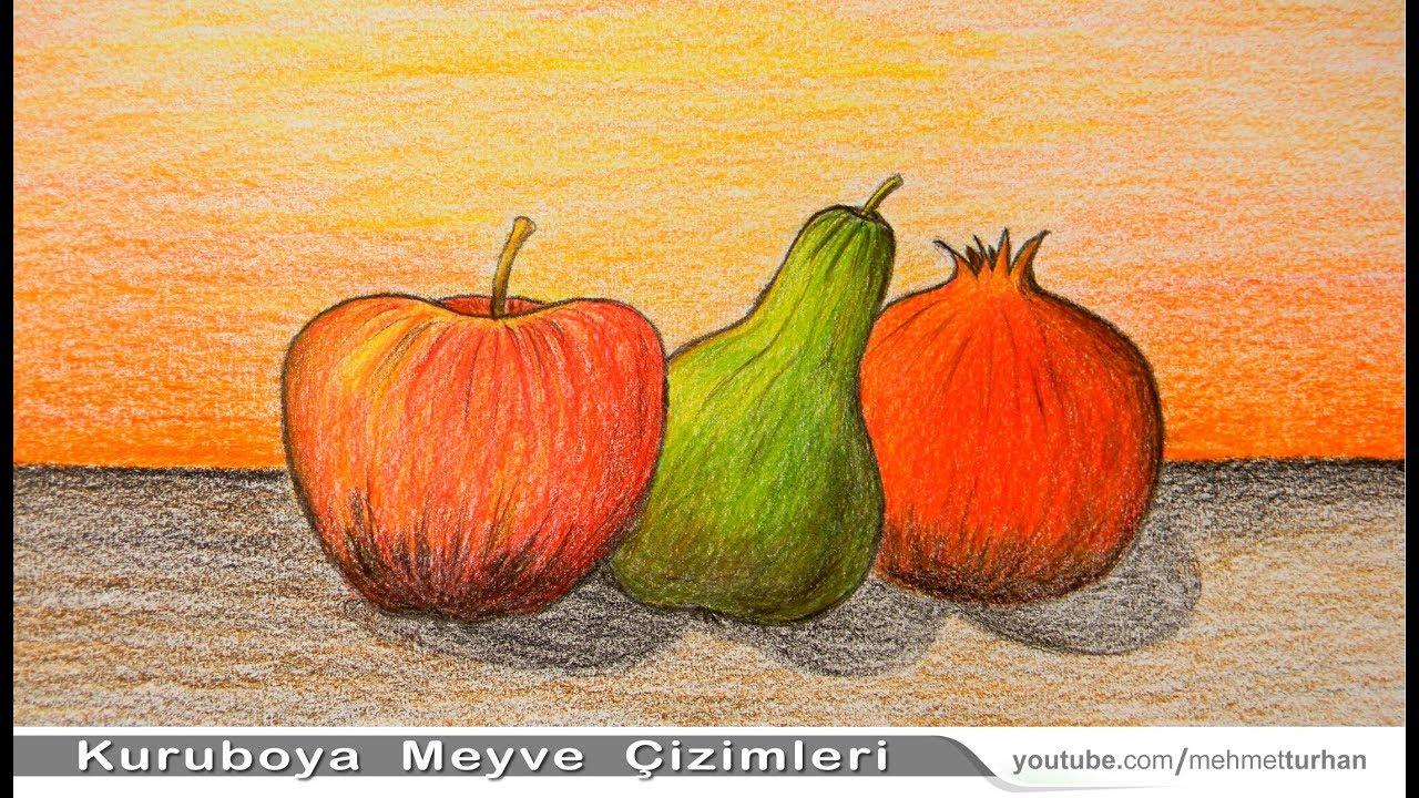 Natürmort Meyve çizimi Nasıl Yapılır Kuru Boya Resim çalışması How