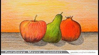 Natürmort  Meyve Çizimi Nasıl Yapılır? Kuru Boya Resim Çalışması. How to Draw Still Life Fruits?