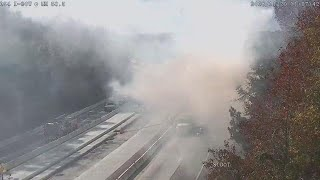 Raw: Tractor-trailer fire blocks Interstate 20 in South Carolina