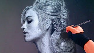 Lovely Yvonne Profile Portrait - Toned Paper Art Drawing Video - See description for my Art Tools