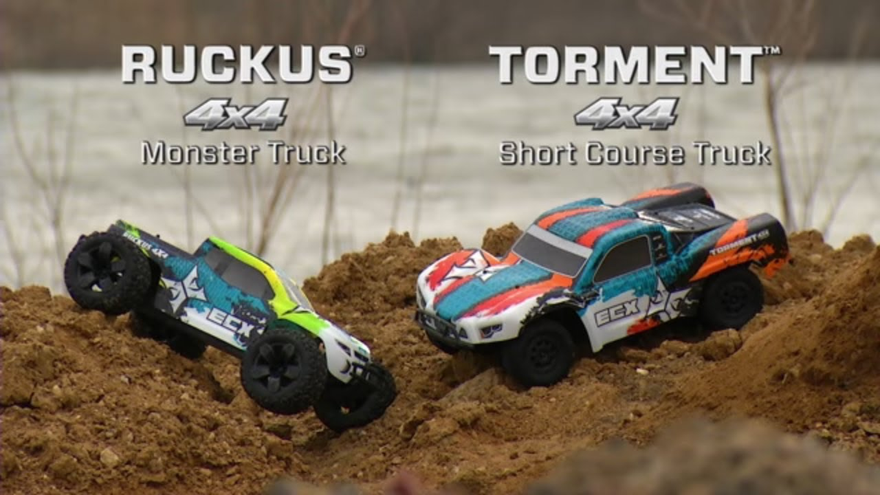 ECX 1/10 4wd Ruckus Monster Truck and Torment SCT Brushed RTR