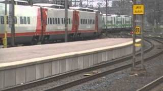 Pendolino with new livery departs Helsinki