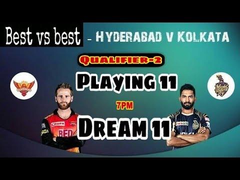 SRH vs KKR 2nd Qualifier IPL T20 Match Dream 11 Team & Playing 11 & CricMoney Team & Wave 11 Team