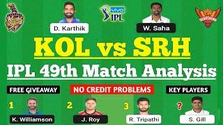 KKR vs SRH Dream11 Team | KKR vs SRH Dream11 Prediction | KOL vs SRH 2021 | KKR vs SRH Dream11 Today