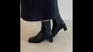 윈터 스퀘어 매력 라인 미들힐 앵클부츠 (5cm)