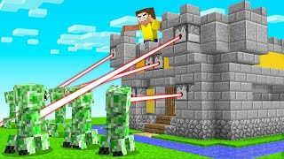 Using LAZERS Against An ARMY Of CREEPERS! (Minecraft)