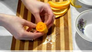 Украшения из фруктов. Карвинг апельсина и яблока.