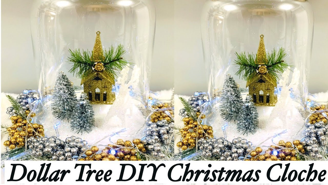 Diy Dollar Tree Christmas Cloche | Dollar Tree Christmas Decor | Christmas  Decor