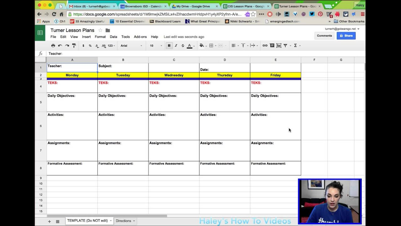Creating Lesson Plans From A Template In Google Sheets YouTube - Google sheets schedule template